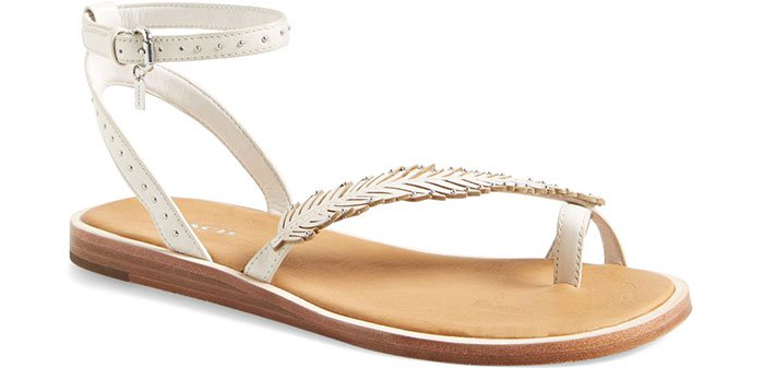 """Coach """"Beach"""" Leather Ankle-Strap Sandals in White"""