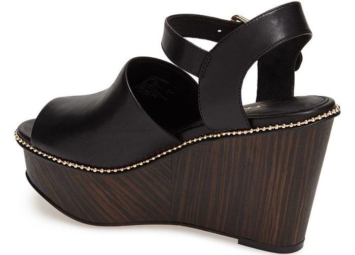 Black Coach Harla Platform Wedge Sandals
