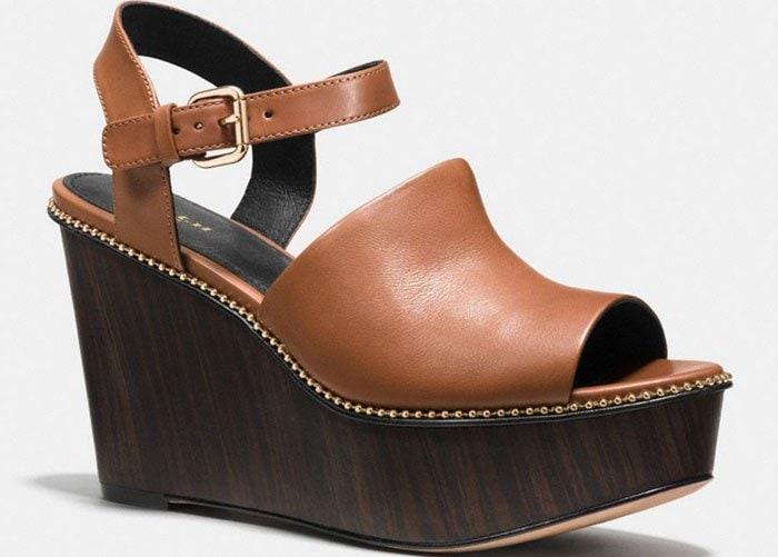 Tan Coach Harla Platform Wedge Sandals