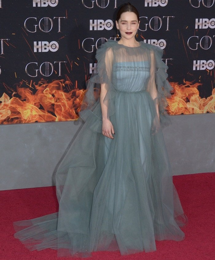 Emilia Clarke wears a show-stopping grey aquamarine Valentino dress at the Game of Thrones Season 8 premiere