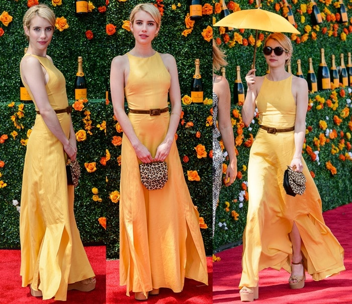 Emma Roberts sported a sunny canary yellow dress from the Christine Alcalay Spring 2015 collection