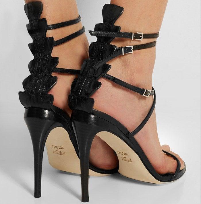 Fendi Crocodile and leather sandals