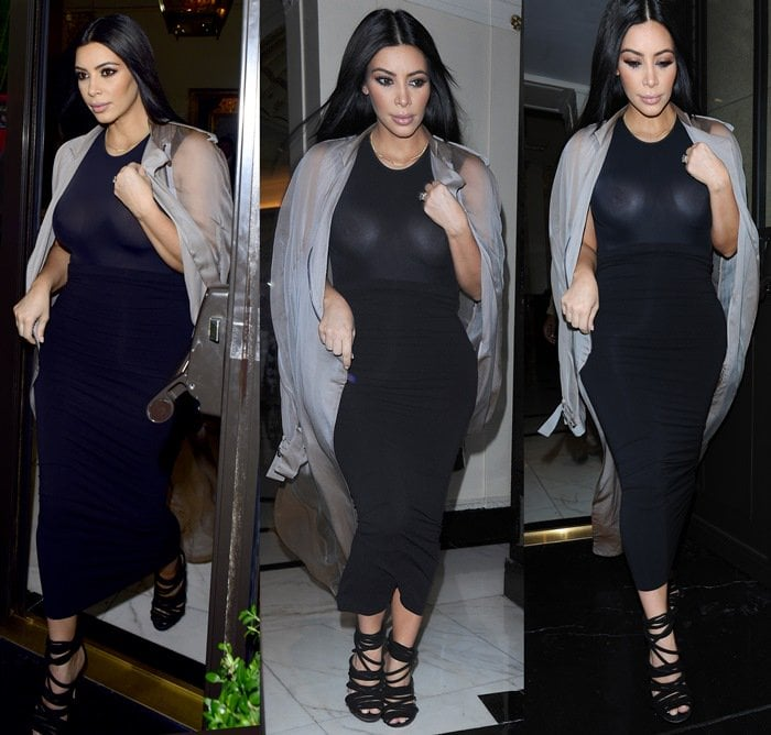 Kim Kardashian leaves her London hotel wearing a sheer dress that reveals her breasts