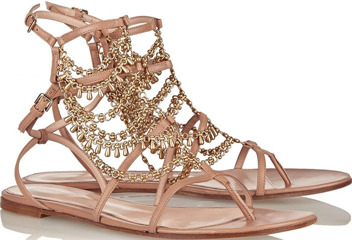 Gianvito Rossi Gitana Chain-Embellished Leather Sandals