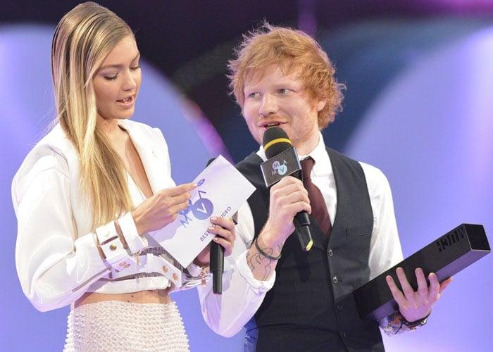 Gigi Hadid and Ed Sheeran co-presented the best video award to The Weeknd
