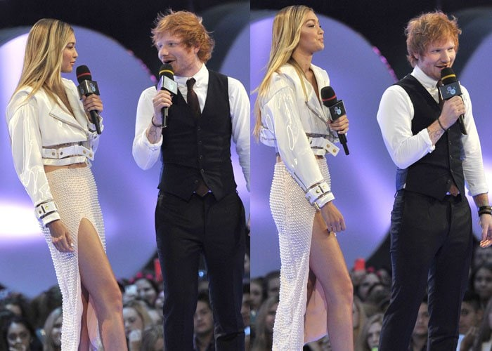 Gigi Hadid presenting with Ed Sheeran at the 2015 Much Music Video Awards (MMVAs)