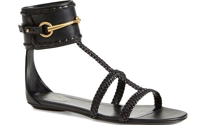 "Black Gucci ""Ursula"" Braided Flat Sandals"