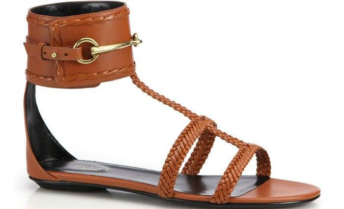 "Gucci ""Ursula"" Horsebit Braided Flat Sandals"