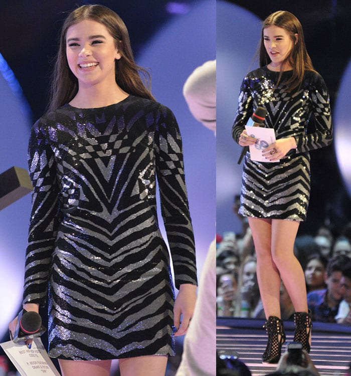 Hailee Steinfeld looked sexy in a dress with long sleeves and black-and-silver micro-sequins