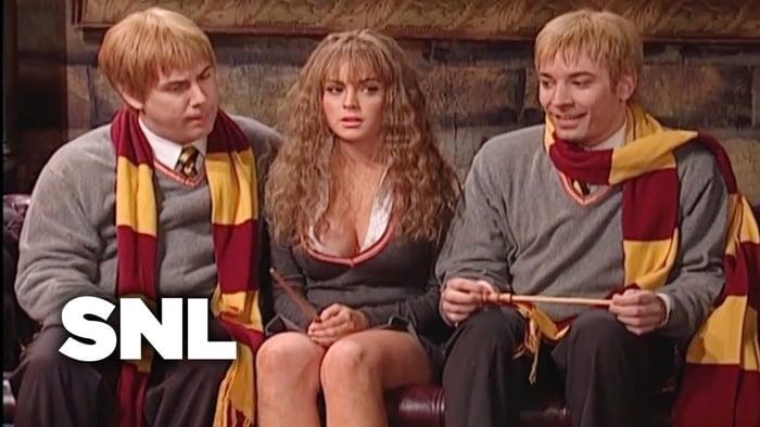 Lindsay Lohan plays Harry Potter's suddenly well endowed Hermione Jean Granger