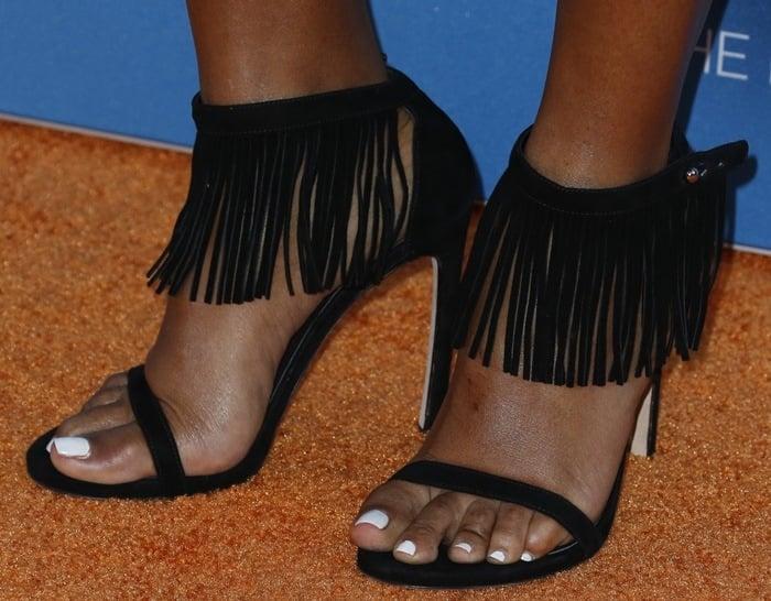 Janelle Monáe Robinson shows off her feet in Lovefringe shoes
