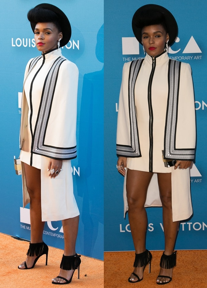 Janelle Monáe Robinson flashed her legs in an embroidered Sass & Bide caped dress