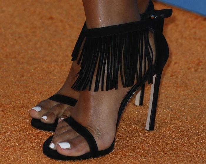 Janelle Monáe Robinson's hot feet in fringe heels from Stuart Weitzman