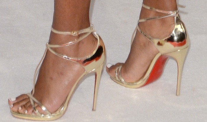 Janelle Monáe Robinson wearing Christian Louboutin Benedetta Fall 2015 t-strap sandals