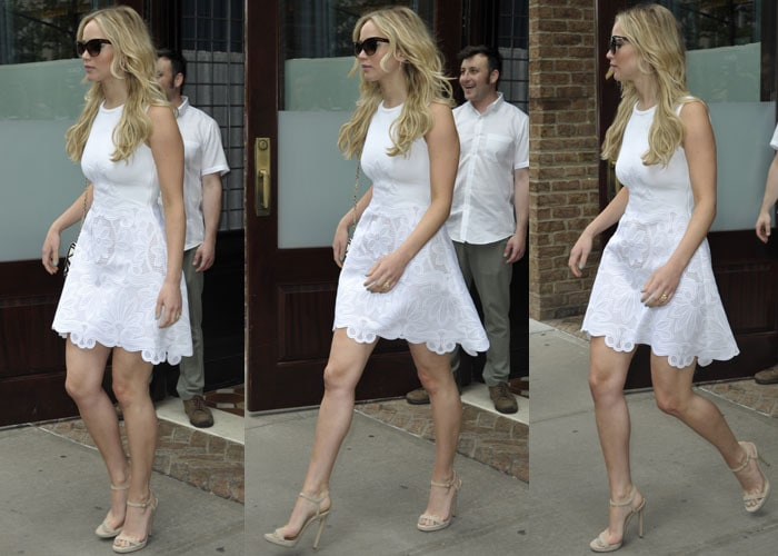 Jennifer Lawrence style her gorgeous white dress with nude ankle-strap sandals