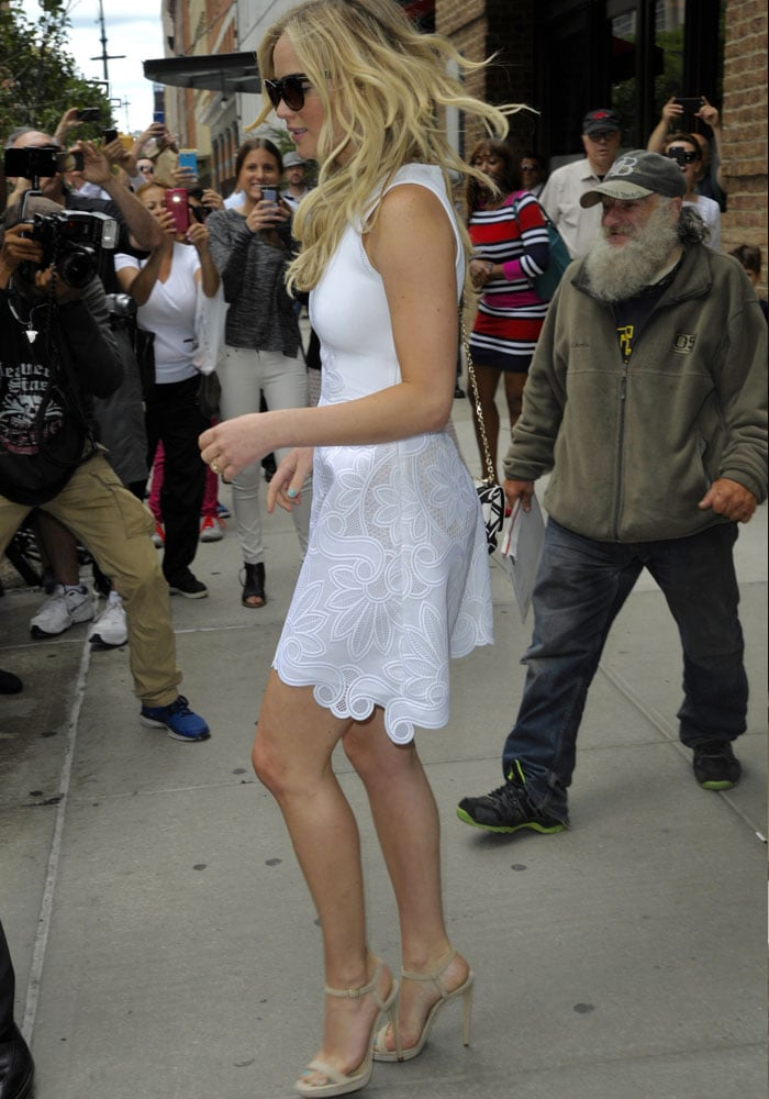 Jennifer Lawrence on her way to attend the Hunger Games Interactive Exhibition in New York