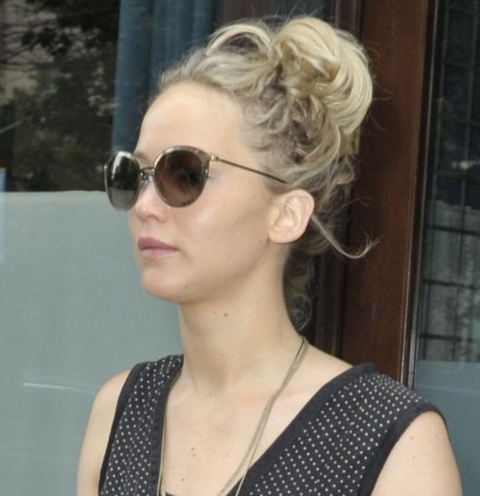Jennifer Lawrence hid her eyes behind a pair of sunglasses when leaving The Greenwich Hotel