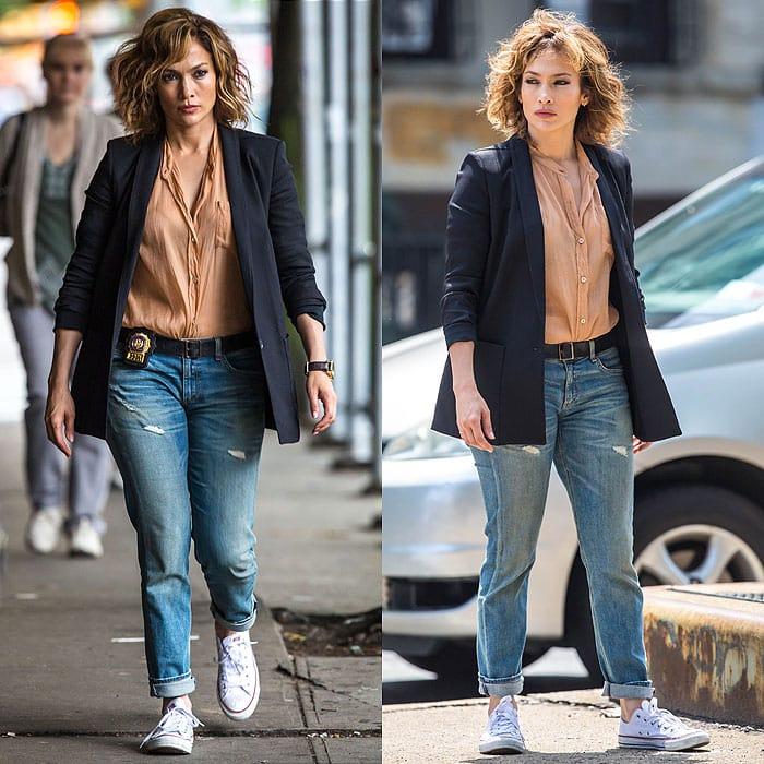 "Jennifer Lopez filming on the location set of NBC's new TV series ""Shades of Blue"""