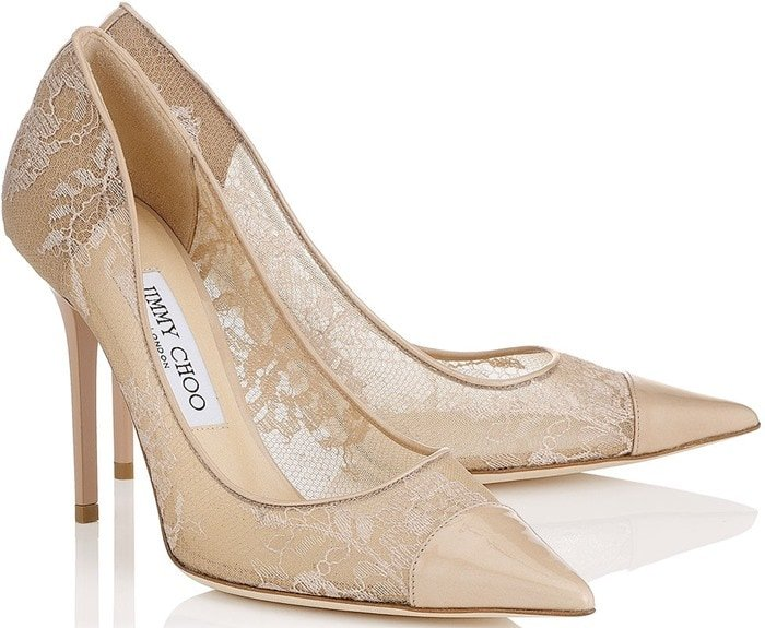 Jimmy Choo Amika Patent Leather & Lace Pumps
