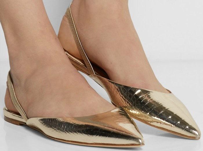 Jimmy Choo Genoa snake-effect leather point-toe flats