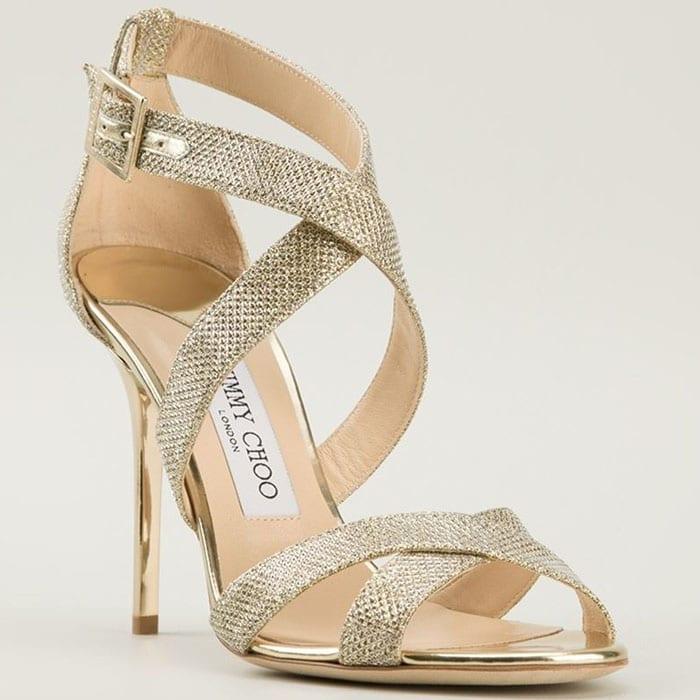 """Jimmy Choo """"Lottie"""" Sandals in Gold Lamé Glitter"""