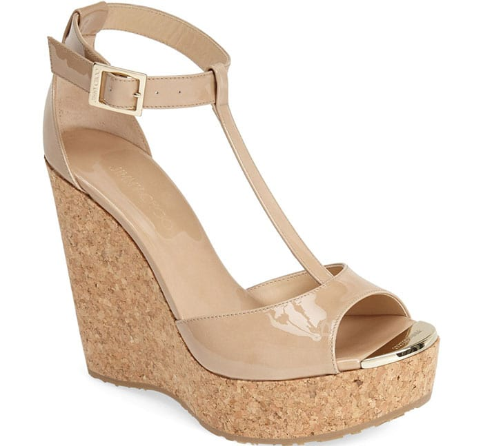 Jimmy Choo Pela Wedge Sandals in Nude Patent Leather