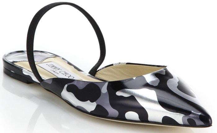 Jimmy Choo Silver Genoa Metallic Leopard-Print Flat Leather Mules