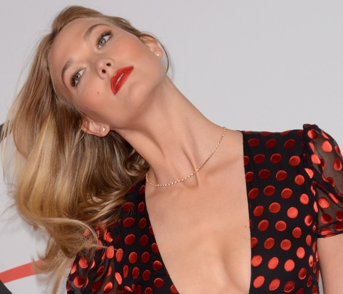 Karlie Kloss shows off her sparkling studded earrings