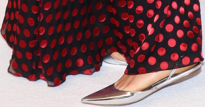 Karlie Kloss shows off her long feet in Jimmy Choo flats