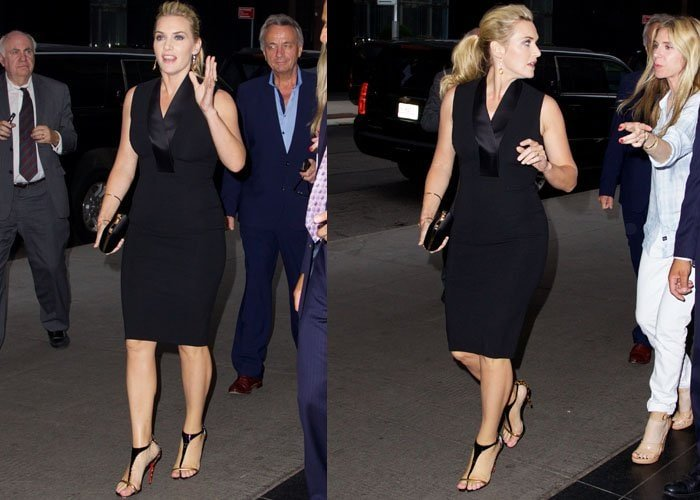 "Kate Winslet styled her dress with her favorite Christian Louboutin ""Athena Alta"" heels in leopard"