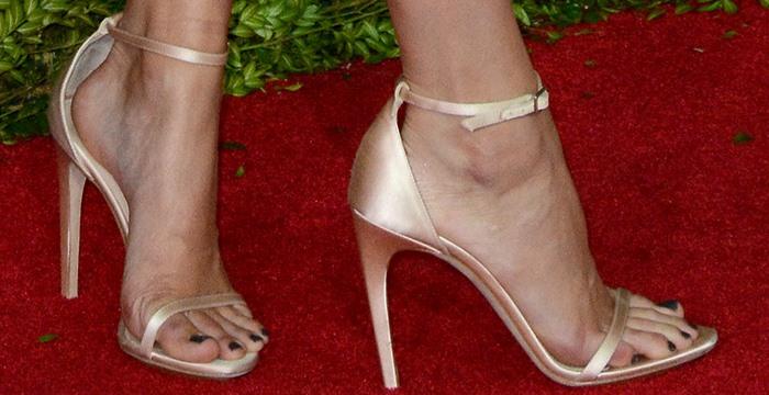 Kendall Jenner's hot feet insatin stiletto ankle-strap heels