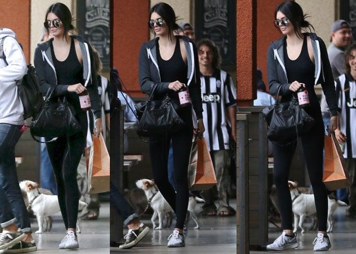 Kendall Jenner wearing Nike Flyknit Lunar 2 sneakers