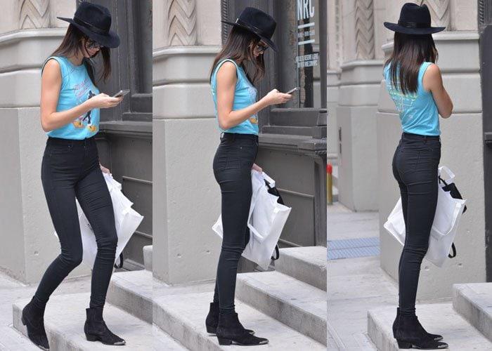 Kendall Jenner getting ready to meet Hailey Baldwin in Manhattan