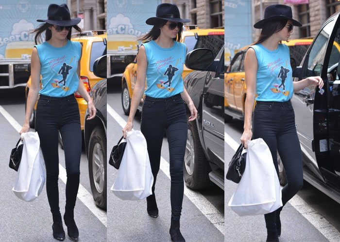 Kendall Jenner paraded her legs in jeans by Res Denim