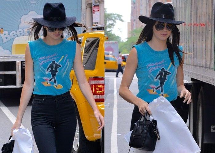 Kendall Jenner rocked a navy blue fedora hat