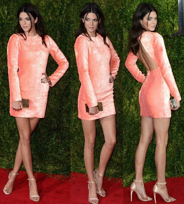 Kendall Jennercarried a silver box clutch and completed the outfit with blush satin stiletto ankle-strap heels