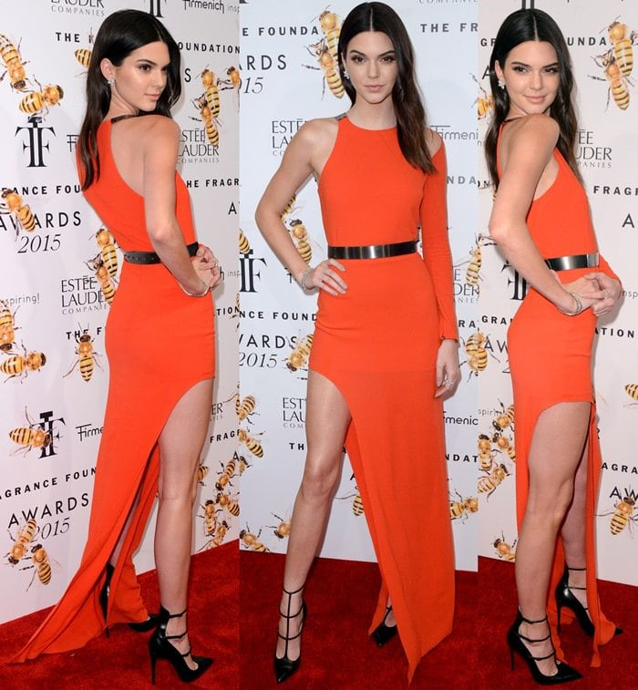 Kendall Jenner flaunted her long legs and accessorized witha shiny dark grey belt