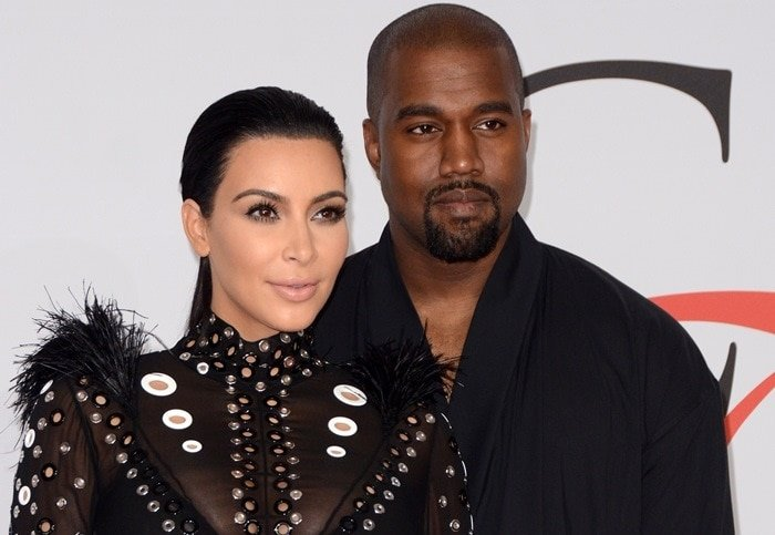Kim Kardashian in a sheer dress with Kanye West at the 2015 CFDA Fashion Awards held at Alice Tully Hall at Lincoln Center in New York City on June 1, 2015