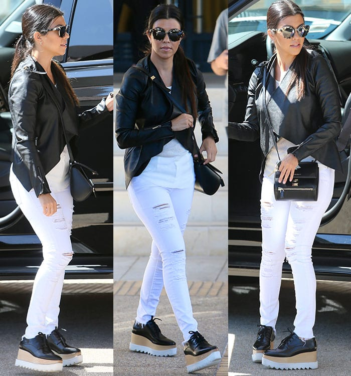2adddf77ddabb Kourtney-Kardashian-Lipsy-jacket-Stella-McCartney-flatform-oxfords