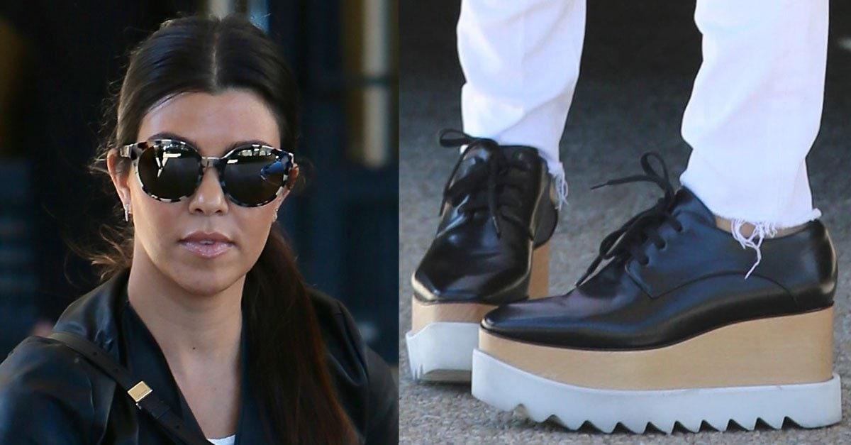 9792c0879e4 Kourtney Kardashian Enjoys Shopping in Stella McCartney Flatforms