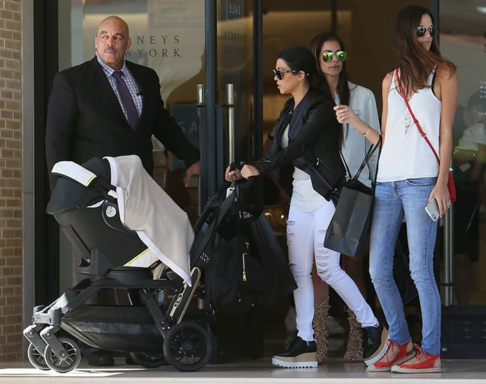 Kourtney Kardashian with her six-month-old son Reign Disick shopping at Barneys New York