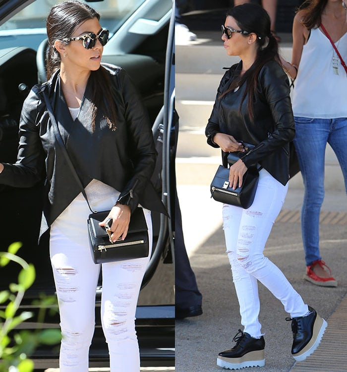 Kourtney Kardashian looked cool and chic in a monochrome outfit