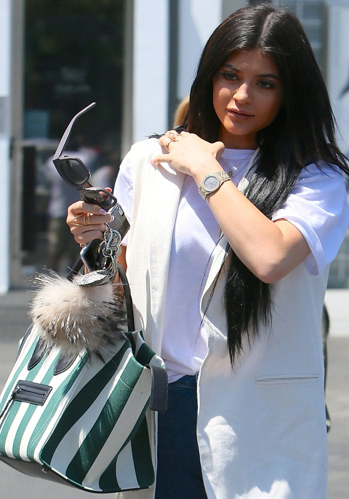 Kylie Jenner shows off her 3.1 Phillip Lim 51 sunglasses from 3.1 Phillip Lim By Linda Farrow Gallery