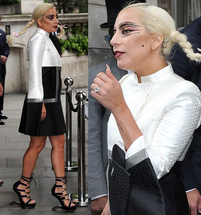 Lady Gaga wearing Pippy Longstocking plaits while leaving The Langham Hotel in London, England, on June 10, 2015