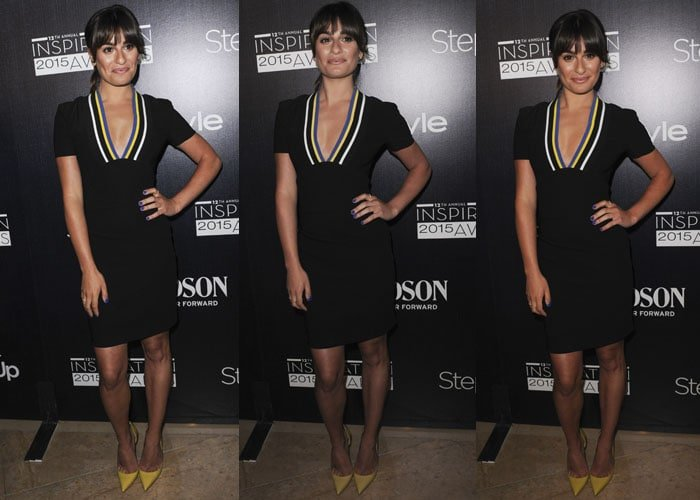 Lea Michele in a black plunging dress by Preen