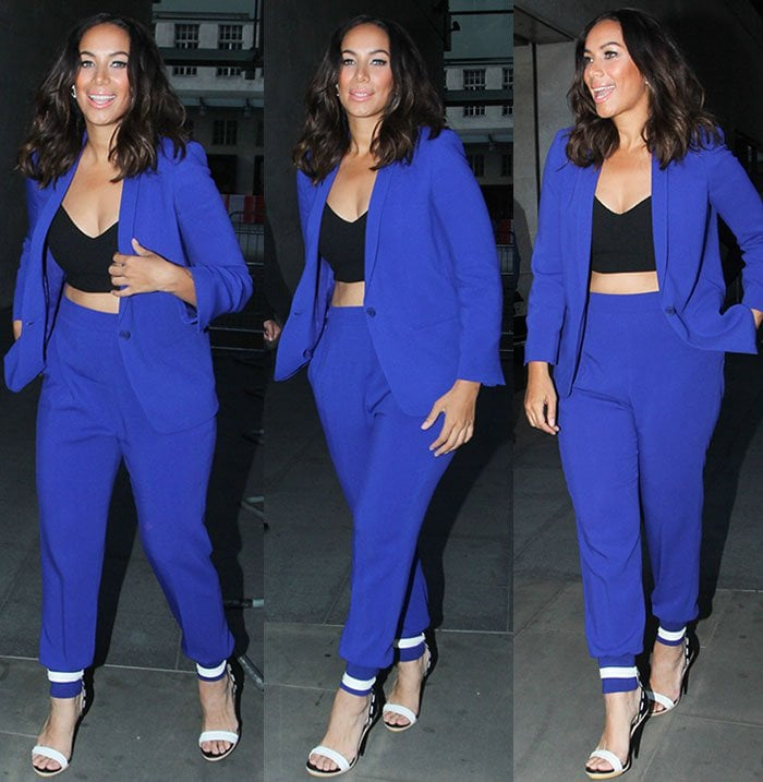Leona-Lewis-blue-blazer-pants-black-crop-top