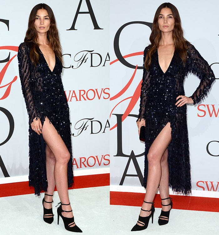 Lily Aldridge flaunted her endless legs in pumps by Tabitha Simmons