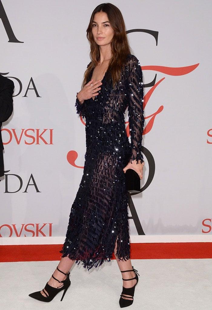 Lily Aldridge's shimmering sequin-embellished sheer dress