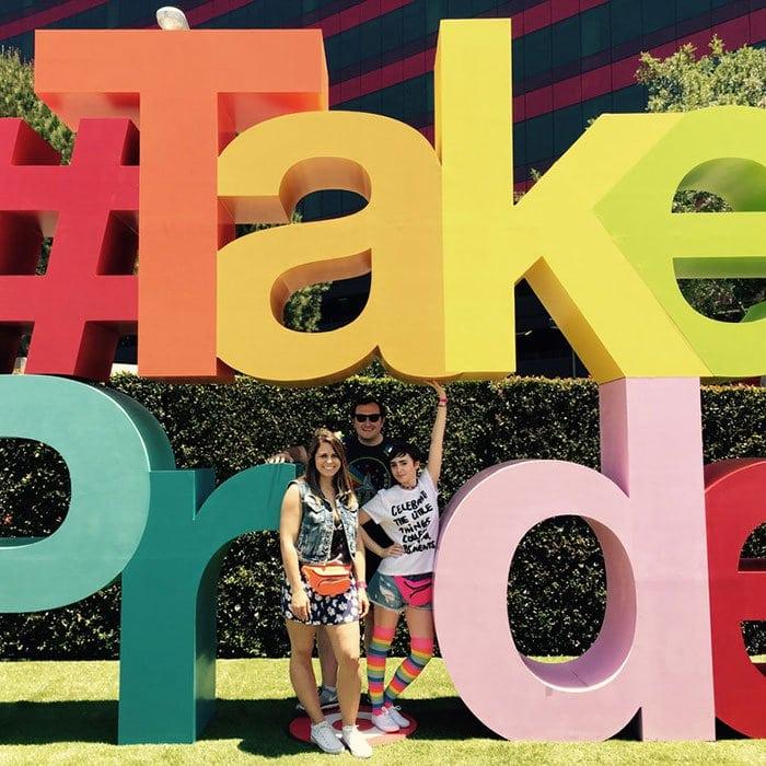 Lily Collins partying at LA Gay Pride Parade