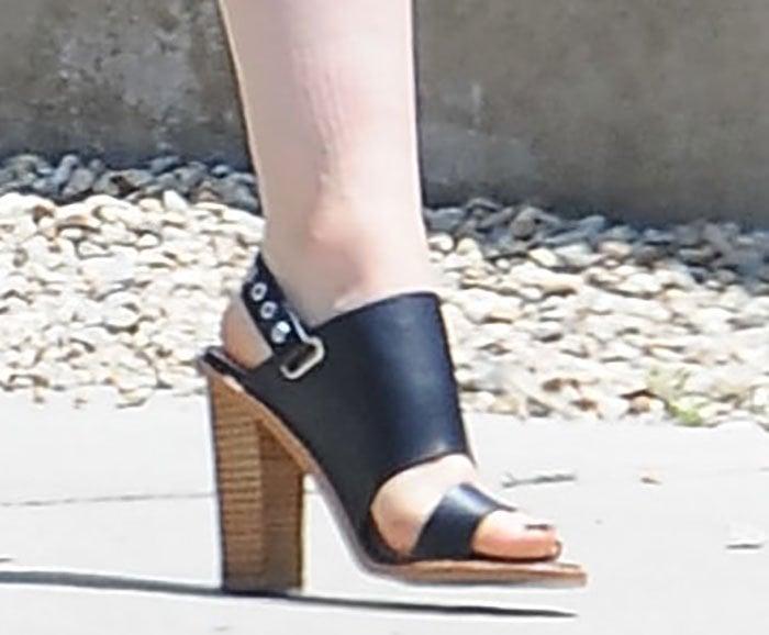 "Lily Collins rocks Sol Sana ""Taylor"" sandals"